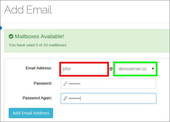 Web Hosting Control Panel | Add new Email Address