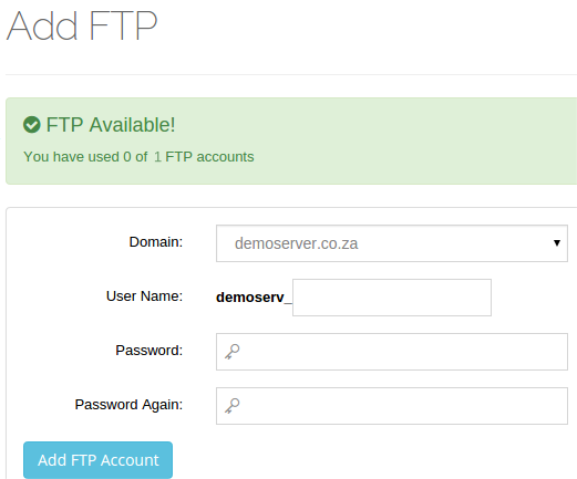 Add new FTP Account