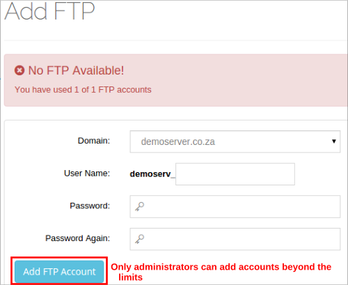 Add new FTP Account Beyond Package Limits