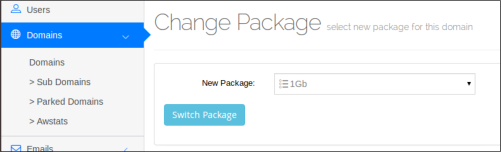 Web Hosting Control Panel | Change Package