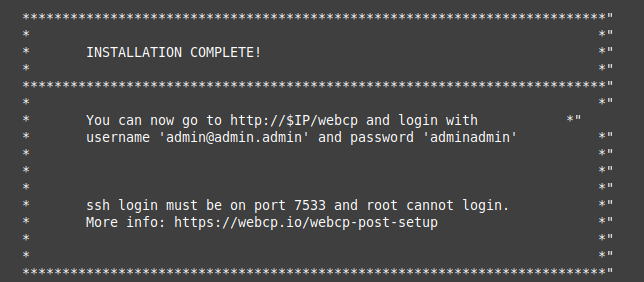 WebCP Post Setup